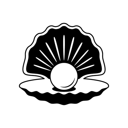 Illustration for The black silhouette of an open shell with pearls. flat-style logo. illustration - Royalty Free Image