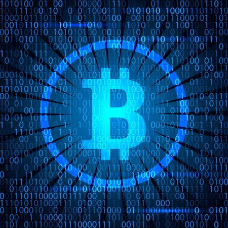 Ilustración de Modern electoron money - crypto currency bitcoin. Banner in modern techno style. - Imagen libre de derechos