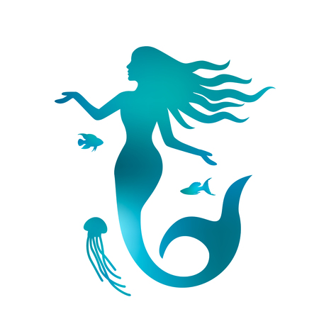 Illustration for Silhouette of a beautiful mermaid with long hair under the water. black and white background - Royalty Free Image