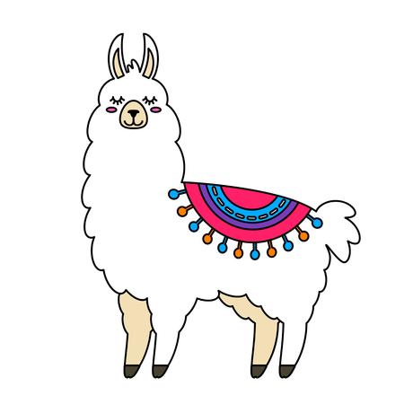 Ilustración de Funny llama alpaca in a cartoon style isolated. flat vector illustration - Imagen libre de derechos