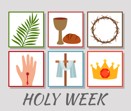 Illustration pour Christian banner Holy Week with a collection of icons about Jesus Christ. The concept of Easter and Palm Sunday. flat vector illustration - image libre de droit