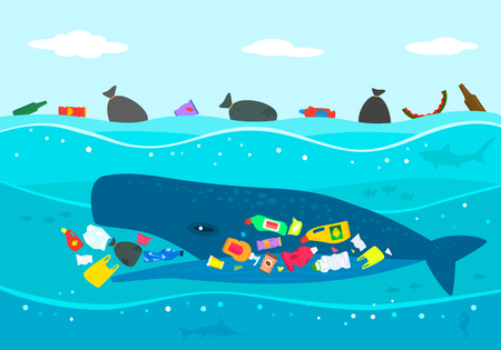 Illustration for Ecological disaster of plastic garbage in the ocean. A large sperm whale eats plastic trash against a polluted sea. flat vector illustration - Royalty Free Image