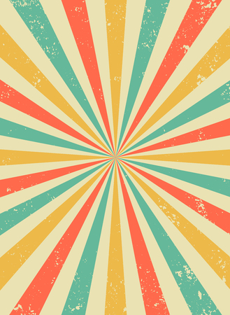 Illustration pour Old retro background with rays and explosion imitation. Vintage starburst pattern with bristle texture. Circus style. flat vector illustration - image libre de droit