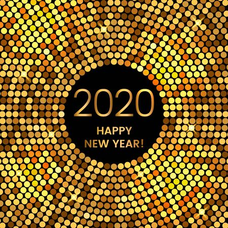Illustration pour 2020 Happy New Year holiday greeting card in modern disco style. golden vector illustration. - image libre de droit