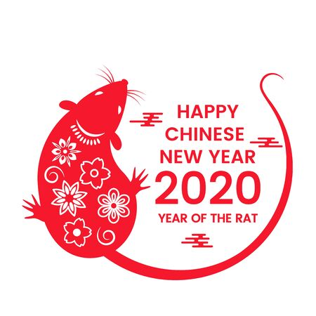 Illustration pour The white rat is a symbol of 2020, the Chinese New Year. Wish in Chinese - Happy New Year. - image libre de droit