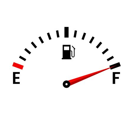 Illustration pour Gauge vector tank full icon. Car dashboard with fuel level in the tank. - image libre de droit