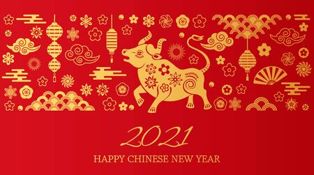 Illustration pour Happy chinese new year. the white metal ox is a symbol of 2021, the Chinese New Year. - image libre de droit