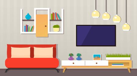 Illustration for modern living room interior. Furniture, armchair, indoor plants, TV, picture - Royalty Free Image