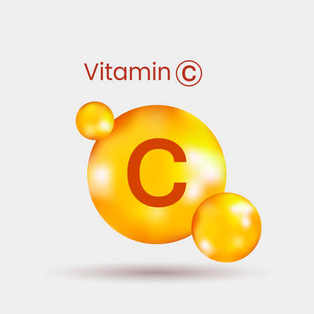 Illustration pour realistic volumetric dragee of vitamin C with shadow. vector illustration on gray background - image libre de droit