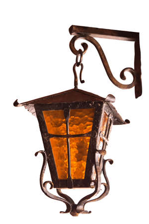 old wrought-iron lamp on a white background