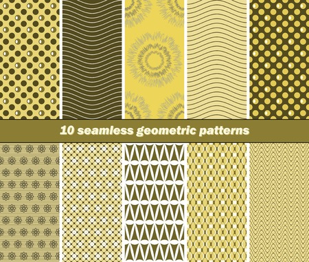 Set of 10 different seamless geometric patterns