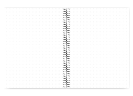 Illustration pour Open dot grid wire bound notebook with metal spiral, realistic vector mock up. Loose leaf letter format notepad spread, template - image libre de droit