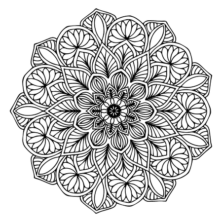 Illustration for Mandalas for coloring  book. Decorative round ornaments. Unusual flower shape. Oriental vector, Anti-stress therapy patterns. Weave design elements. Yoga logos Vector. - Royalty Free Image