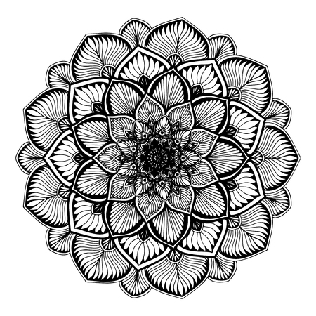 Illustration pour Mandalas for coloring  book. Decorative round ornaments. Unusual flower shape. Oriental vector, Anti-stress therapy patterns. Weave design elements. Yoga logos Vector. - image libre de droit