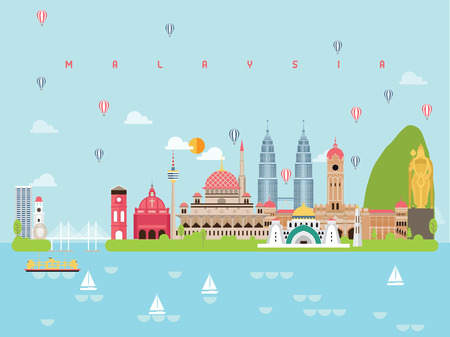 Foto per Malaysia Famous Landmarks Infographic Templates for Traveling Minimal Style and Icon, Symbol Set Vector Illustration Can be use for Poster Travel book, Postcard, Billboard. - Immagine Royalty Free