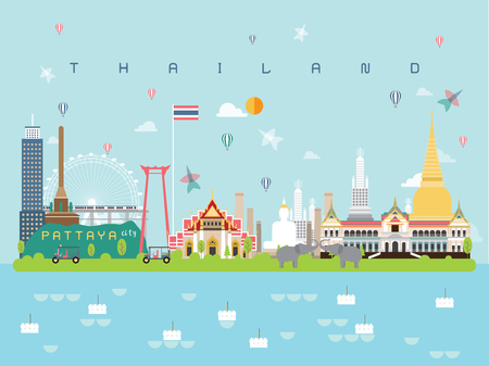 Thailand Famous Landmarks Infographic Templates for Traveling Minimal Style and Icon, Symbol Set Vector Illustration Can be use for Poster Travel book, Postcard, Billboard.