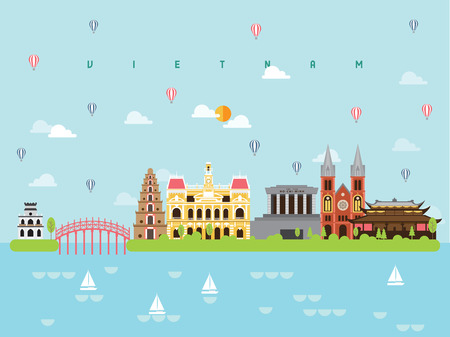 Illustration for Vietnam Famous Landmarks Infographic Templates for Traveling Minimal Style and Icon, Symbol Set Vector Illustration Can be use for Poster Travel book, Postcard, Billboard. - Royalty Free Image