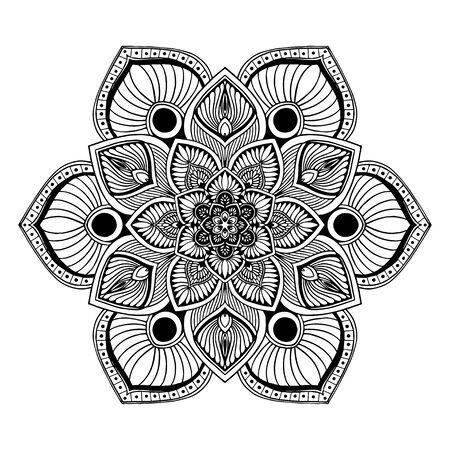 Illustration pour Mandalas Round for coloring  book. Decorative round ornaments. Unusual flower shape. Oriental vector, Anti-stress therapy patterns. Weave design elements. - image libre de droit
