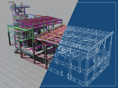 Photo for BIM model of a building made of metal construction, metal structure. 3D architectural, construction, industrial and engineering background. 3D rendering. Drawing blueprint. - Royalty Free Image