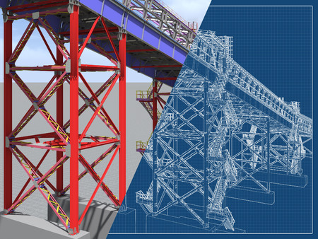 BIM model. 3D structure of building steel structures of industrial transportation gallery. Engineering, construction and industrial background. 3D rendering. Drawing blueprint.