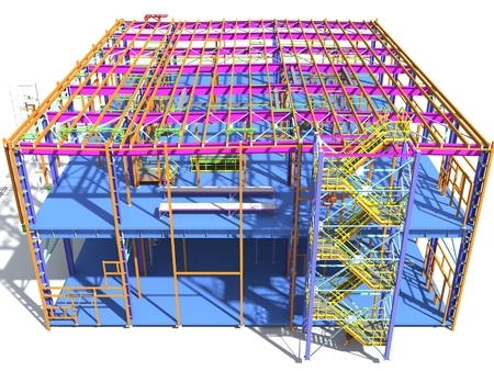 Photo for Building Information Model of metal structure. 3D BIM model. The building is of steel columns, beams, connections, etc. 3D rendering. Engineering, industrial, construction BIM background. - Royalty Free Image