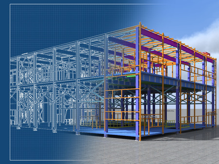 Foto per Building Information Model of metal structure. 3D BIM model. The building is of steel columns, beams, connections, etc. 3D rendering. Engineering, industrial, construction BIM background. - Immagine Royalty Free