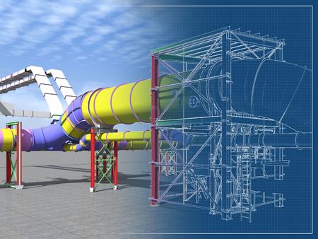 Photo pour Building Information Model of metal structures of the gas pipeline. 3D BIM model. The building is of steel columns, beams, connections, tubing, etc. 3D rendering. BIM background. - image libre de droit