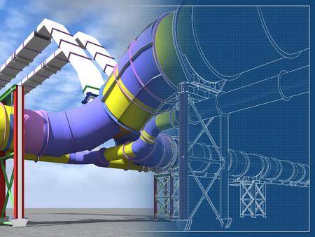 Foto de Building Information Model of metal structures of the gas pipeline. 3D BIM model. The building is of steel columns, beams, connections, tubing, etc. 3D rendering. BIM background. - Imagen libre de derechos