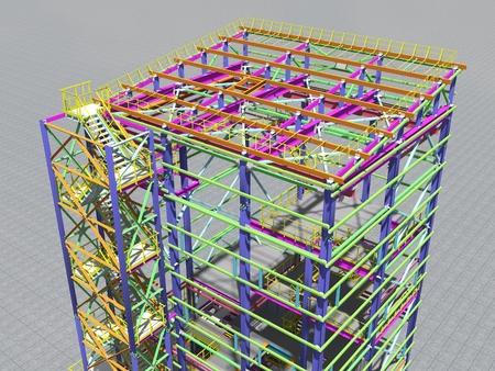 Photo pour Building Information Model of metal structure. Design technologies of the future. 3D BIM parametric building.Engineering Graphics. 3D rendering. - image libre de droit