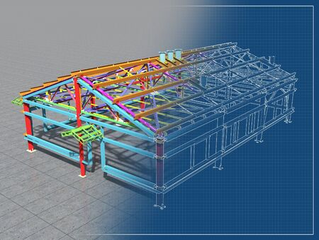 Photo pour 3D BIM model. Building Information Model of metal structure. 3D rendering. The model of a classical building with a pitched roof is made according to the latest design technologies. - image libre de droit