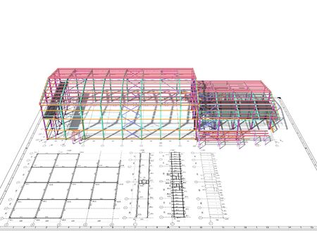 Photo pour BIM building model of columns, beams, ties, girders. The metal structures are welded and bolted together. 3D rendering. The drawing of the building structure is made by an engineer. - image libre de droit