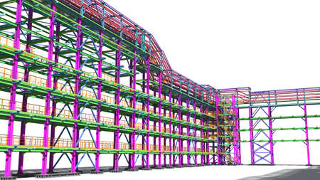 Photo pour Presentation of the BIM model for the construction customer and contractor. Development of project drawings based on the BIM model. 3D rendering. - image libre de droit