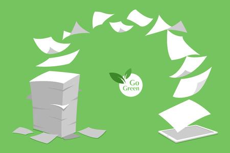 Ilustración de concept of stack white paperless go green, save the planet, earth, trees, leaf logo, documents turned into digital big data, business device, tablet, screen display, future technology, flat vector. - Imagen libre de derechos