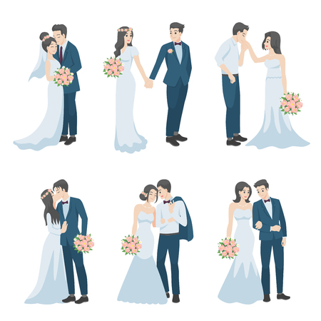 Illustration pour Set of Wedding Couple, couple in love characters cartoon for love valentine's day, holidays, celebrating marriage, romance, hearts, date, sweet, wedding flower, Just married , newlyweds, bride, groom. - image libre de droit