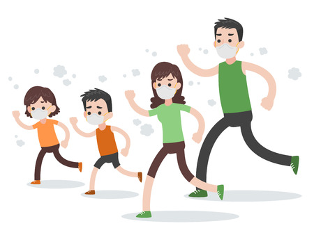 Ilustración de Set of People  Family Character, people running wearing protective face masks Medical Health care concept, cartoon character flat design vector on white background. - Imagen libre de derechos
