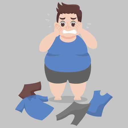 Ilustración de Big Fat Man cannot wearing her clothes because she is too fat,tight, fit, too small, body over weight, sad, afraid, unhappy, big size, diet  cartoon lose weight, Lifestyle healthy Healthcare concept - Imagen libre de derechos