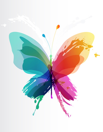 Illustration pour Colorful butterfly created from splash and colored objects. - image libre de droit
