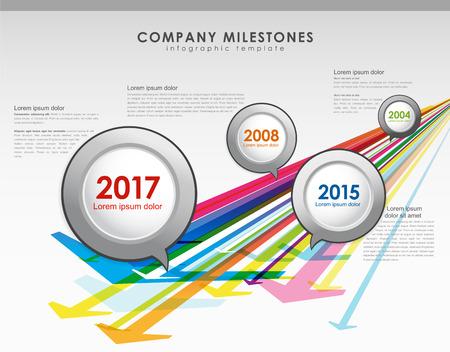 Illustration pour Infographic company milestones timeline vector template with arrows. - image libre de droit