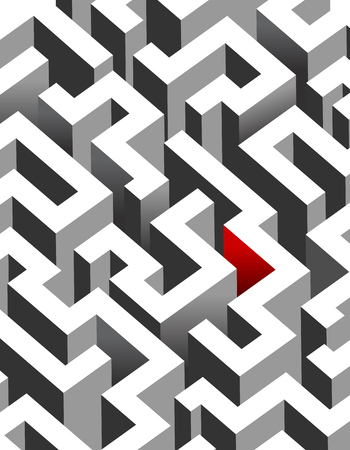 Black and white maze, labyrinth - isometric endless pattern - vertical version