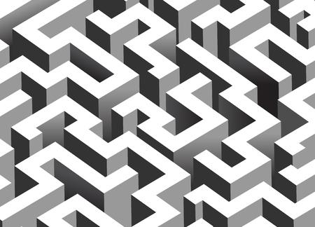 Black and white maze, labyrinth - isometric endless pattern - horizontal version
