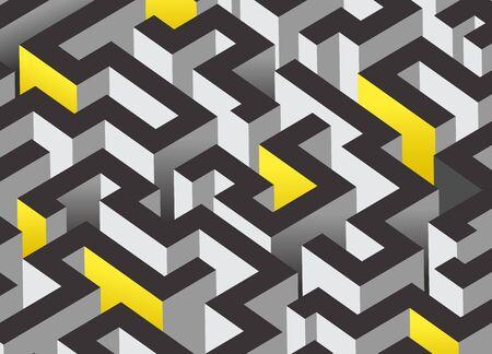 Black, white and orange maze, labyrinth. Endless pattern - horizontal version