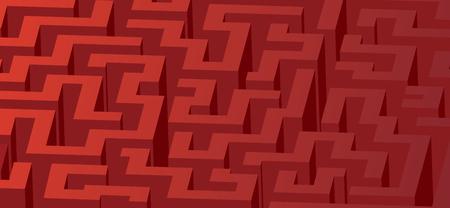 Red maze, labyrinth - horizontal version
