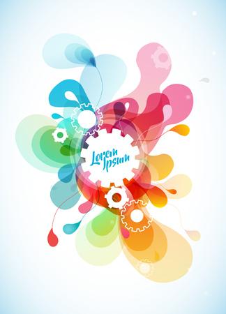 Illustration pour Abstract colored flower background with cogwheels. - image libre de droit