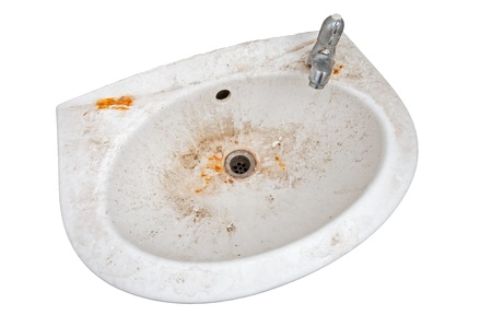 Very dirty sink isolated on white