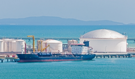 Oil tanker moored at the Port