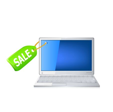 Icon of the laptop and sale tag vector icon