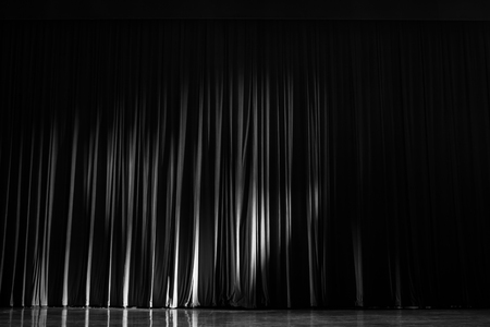 Photo pour Black and white velvet curtains with the lights of the show and the wood flooring parquet. - image libre de droit
