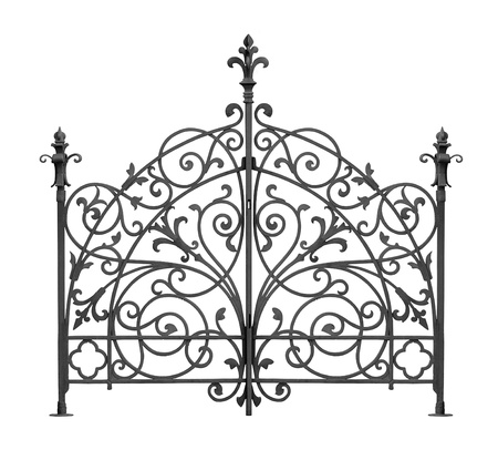 Black forged gate with decorative lattice isolated on white background