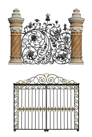 Collection of black forged gates and forged decorative lattice with flowers isolated on white background