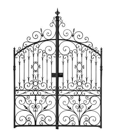 Black forged gates with decorative lattice isolated on white background